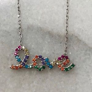 SterlingSilver&Colored CubicZirconia LOVE Necklace